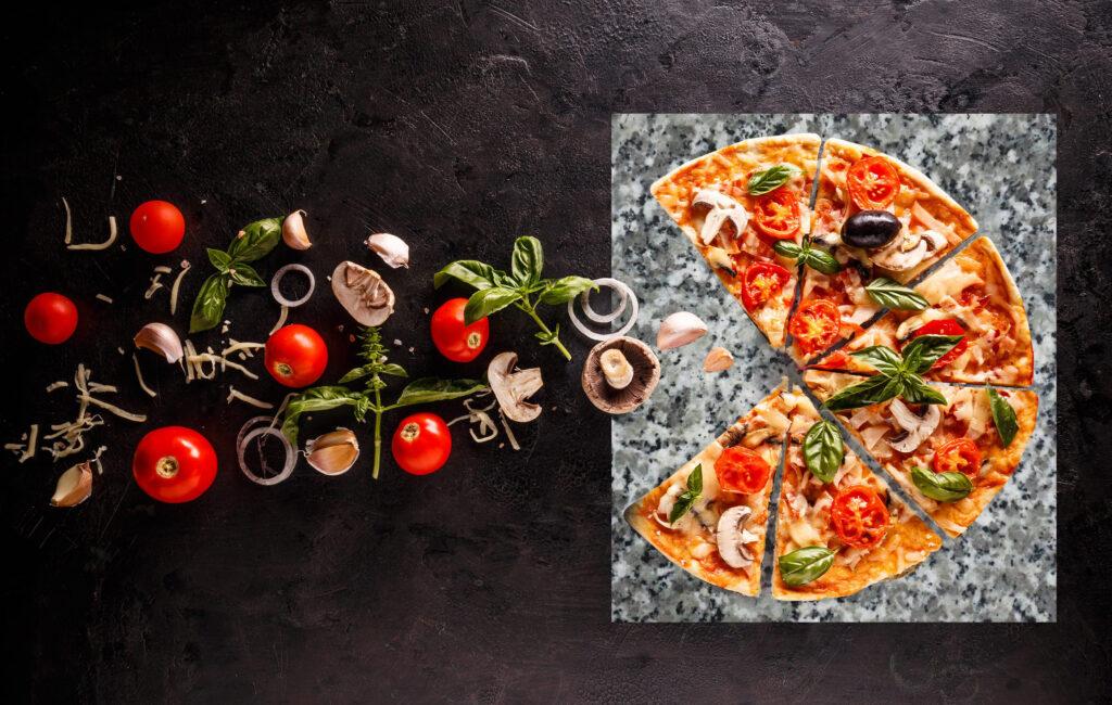 Pizza na kamieniu granitowym